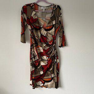 Joseph Ribkoff Abstract Print wrap dress